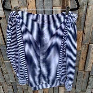 Woman's Large off shoulder striped Shirt blouse